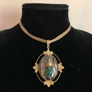 70's Rare Miriam Haskell Egyptian Scarab  Necklace